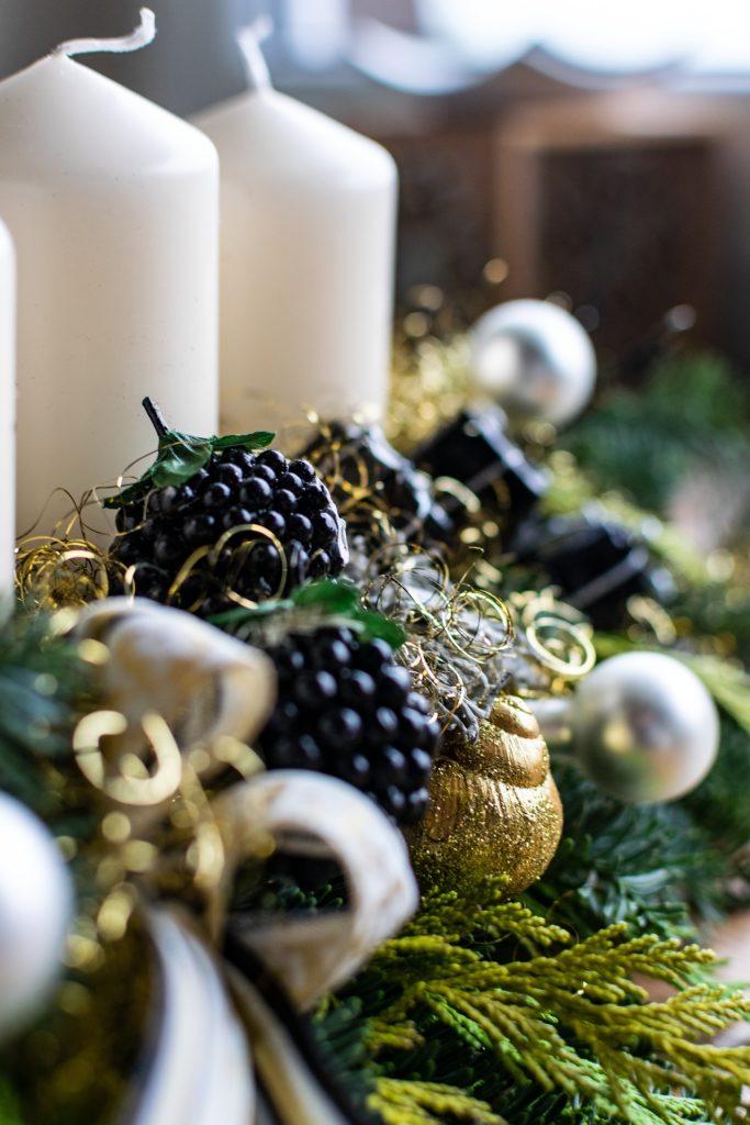 Adventskranz Schwarz Weiß Gold
