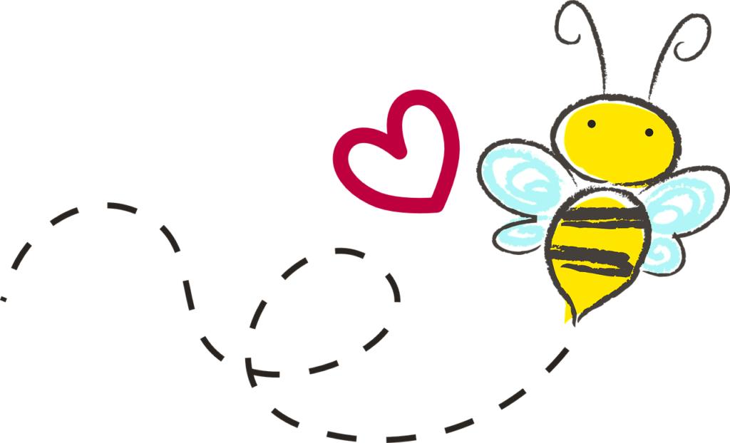 Biene Gezeichnet Mit Herz