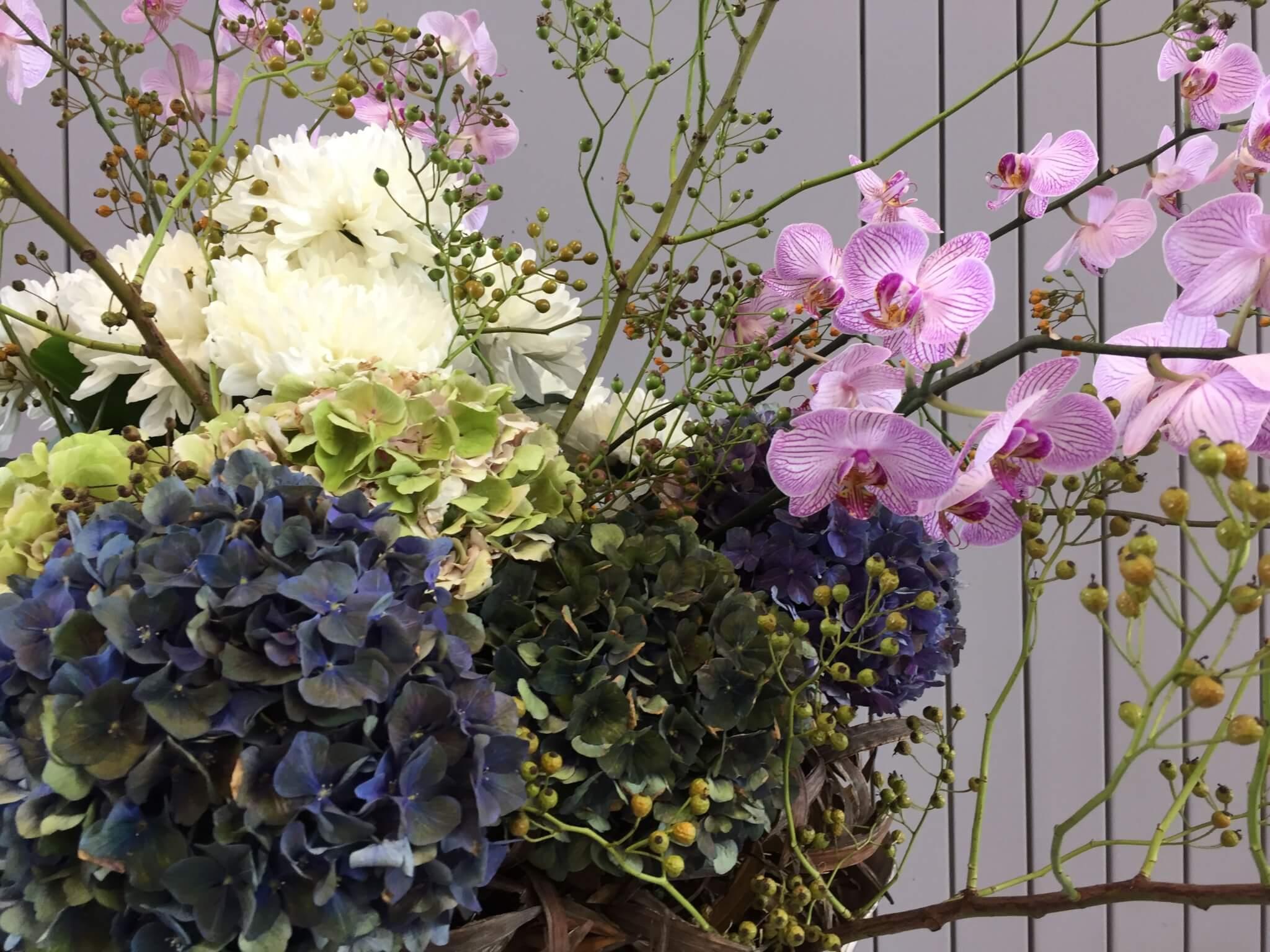 Gesteck Mit Hortensie Orchidee